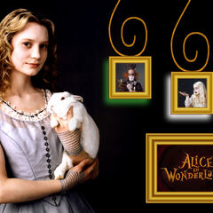 Alice and a rabbit wallpaper.