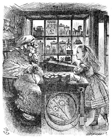 486px-John Tenniel Alice and the Knitting Sheep