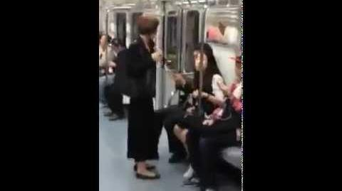 Korean girl with bad manners on the train subway