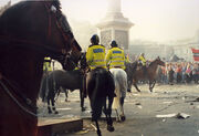 Poll Tax Riot 31st Mar 1990 Trafalger Square - Protesters Stand Firm