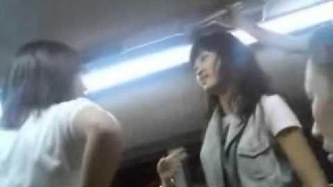 Hiruko's drunk friend brawl it out on the subway.