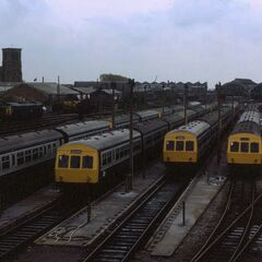 Diesel trains at the depot out side Murphy Park Station in New Belfast 1000AF.