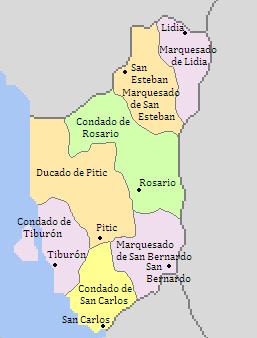 Subdivisiones Menores del Gran Condado de Pitic (Dinastias) - 1