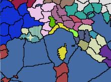 Mapa con la Toma de Provenza