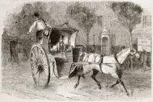 15294234-antigua-ilustraci-n-de-un-coche-con-pasajeros-en-par-s-creado-por-blanchard-publicado-el-magasin-pit