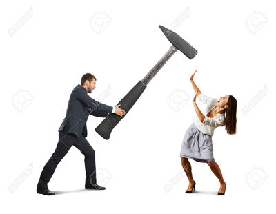 33021114-angry-screaming-man-holding-big-hammer-and-hitting-scared-woman-isolated-on-white-background-Stock-Photo