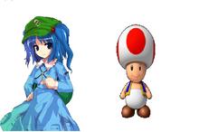 Mario and Touhou Nitori Y Toad