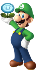 Luigi con una flor de agua