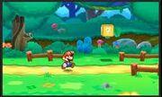 Mario caminando en un Bosque