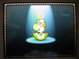 Bebe Yoshi saliendo al final de los creditos del juego Yoshi Island DS