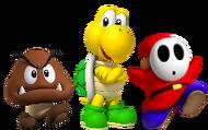 Goomba, Koopa y Shy Guy