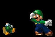 Luigi y un Bob-Omb Gaseoso