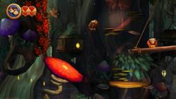 DKCR Screenshot Sporen-Trampolin