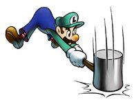 Luigi usando el martillo MLSS