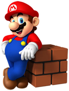Mario leaning at Brick Block
