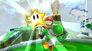 Yoshi beeing seen with a star in SMG2