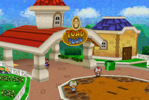 Mario Entering Toad Town (Paper Mario)