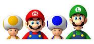 Mario, Luigi, Toad Juane et Toad Bleu en Super Mario