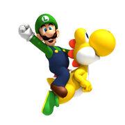 NSMBW Artwork Luigi & Yoshi