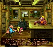 DKC3 Screenshot Boomers Bombenbude
