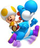 NSMBW Artwork Gelber Toad & Yoshi