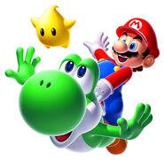 Super mario galaxy 2 art de Yoshi y Mario