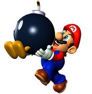 Mario agarrando a Bob-omb
