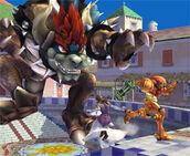 Bowser utilizando su poder smash final 2