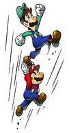 Mario y Luigi realizando el salto alto