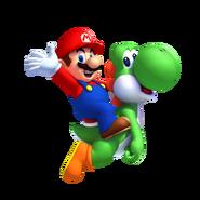 Yoshi y Mario en NSMB. U