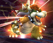 Bowser transformandose en Giga Bowser