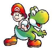 Yoshi y Mario de bebé