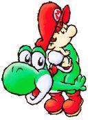 SMW2 Artwork Baby Mario und Yoshi