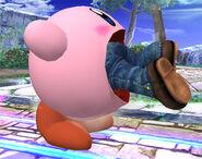 Kirby absorviendo a Mario SSBB