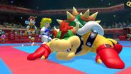 Peach beats Bowser