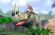 Diddy Riding Giant Rambi - Spaceworld 2001 Tech Demo - Donkey Kong Racing