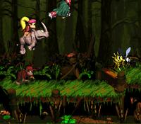 DKC2 Screenshot Sumpf der Fässer
