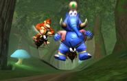 Donkey and Taj on Zingers - Spaceworld 2001 Tech Demo - Donkey Kong Racing