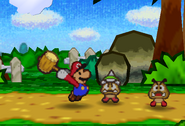 Mario, Spiked Goomba, and a Goomba (Hammer)