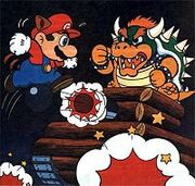 Mario y Bowser en tierra oscura