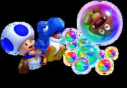 Toad azul y bebé yoshi azul