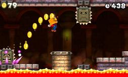 Mario con el bloque de oro en una castillo