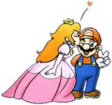 Peach kissing Mario SMBDX