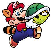 SMB3 Artwork Waschbär-Mario mit Panzer