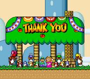 Luigi, Princess Peach, and the Yoshis at Yoshi's House.