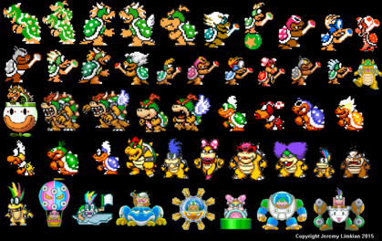 Bowser, Bowser Jr. And The Koopalings (Super Mario Bros., Super Mario Bros. 3, Super Mario All-Stars, Super Mario World, Mario And Luigi - Super Star Saga, Yoshi's Safari, And Super Mario Maker)