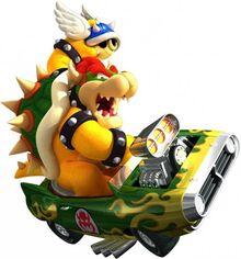 Bowser lanzando un caparazón azul en!ario Kart Wii