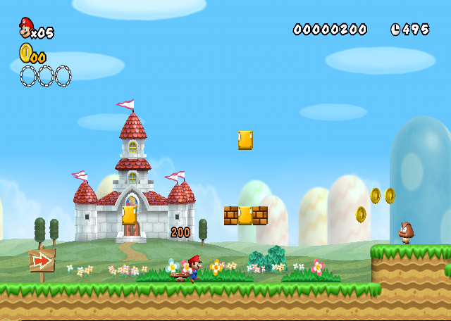 World 1 1 new super mario bros wii mario and sonic wiki beginning of level 1 peachs castle can be seen in the background gumiabroncs Gallery