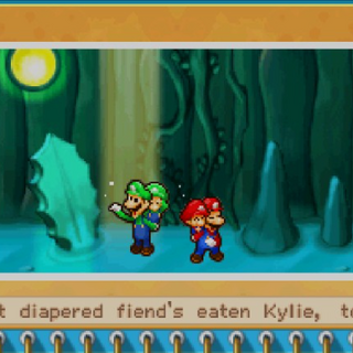 A pause menu from <i>Mario &amp; Luigi: Partners in Time</i>, referring to <a href=
