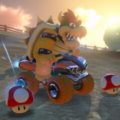 Bowser drifts, while approaching the Monty Mole area.